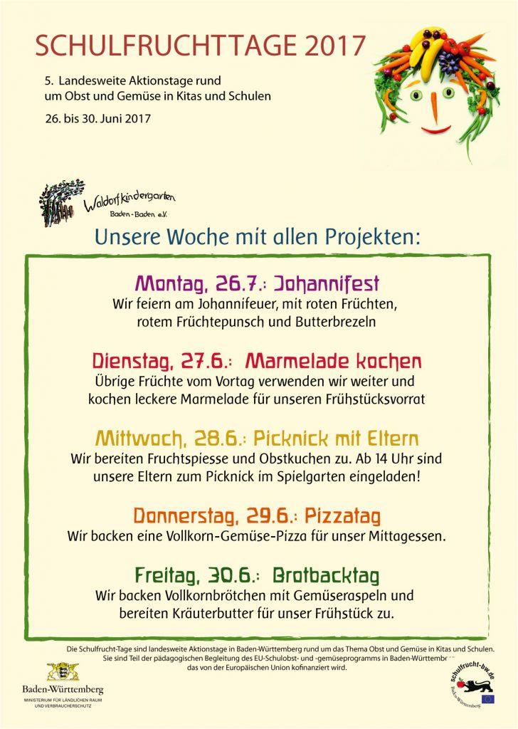 Plakat Schulfruchttage 2017 im Waldorfkindergarten Baden-Baden e.V.